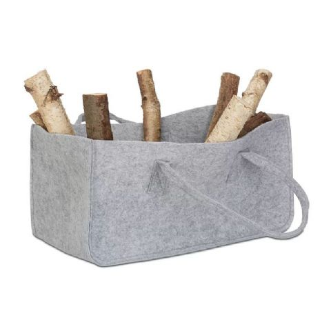 Grey Felt Fire Log Basket & Shoulder Carrier Bag